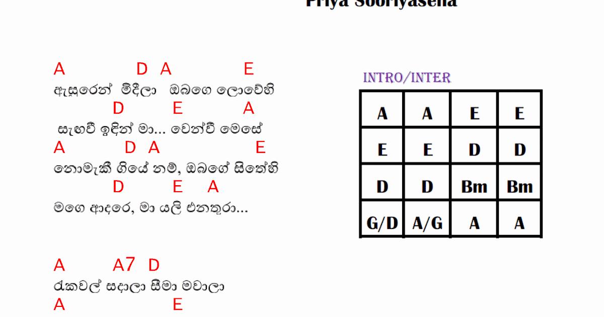 Asurin Mideela Guitar Chords Priya Sooriyasena Sinhala Guitar