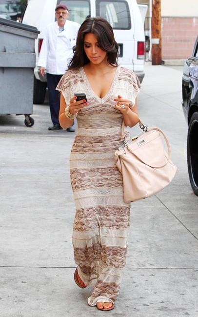 Fashion Direct Kim Kardashian Wearing Bebe Open Knit Maxi