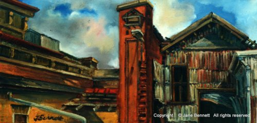 plein air oil painting of  the Pumphouse Carrington by industrial heritage artist Jane Bennett