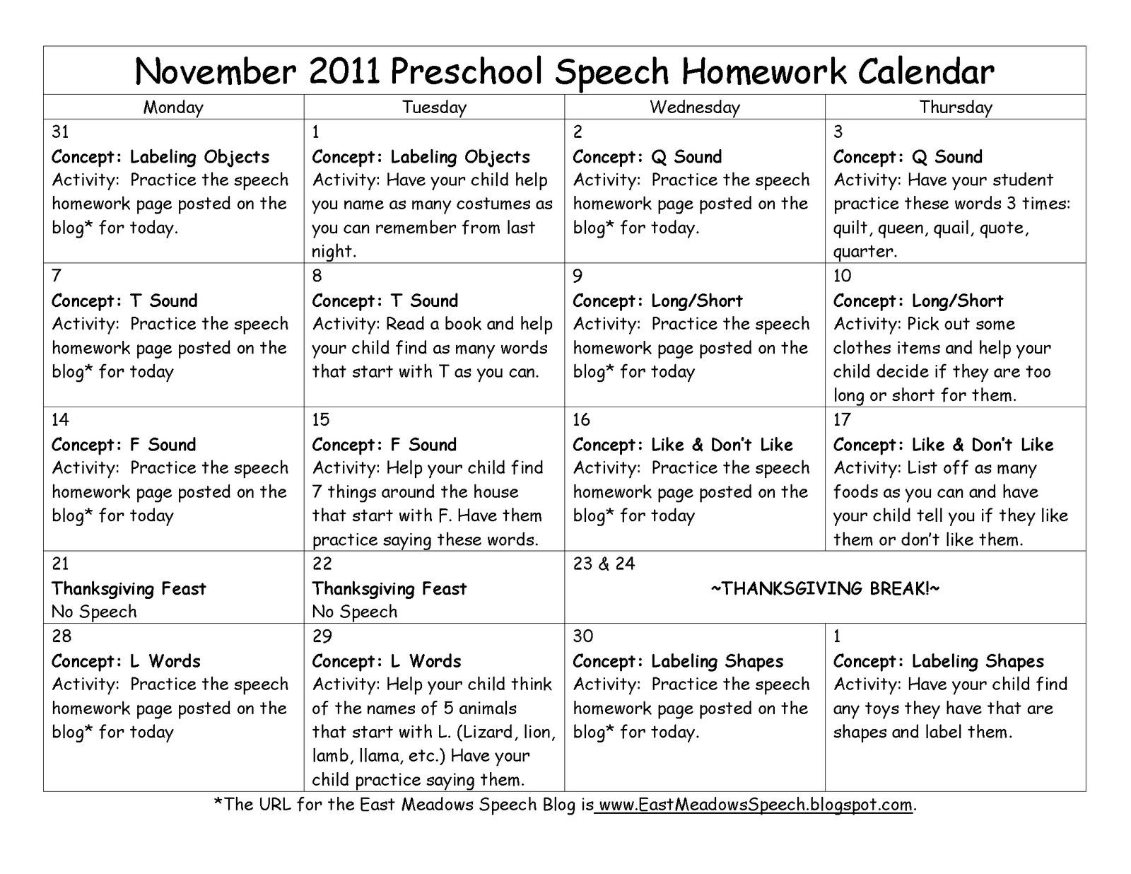 Kindergarten November Calendar : Preschool homework calendars