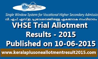 Kerala VHSE Trial Allotment Result VHSCAP-2015
