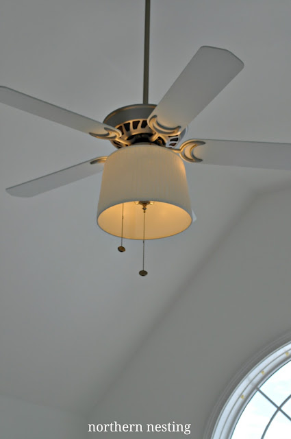 northern nesting adding a shade to your ceiling fan adding a bit of whimsy to the sconces. Black Bedroom Furniture Sets. Home Design Ideas