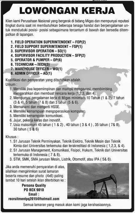 Lowongan Kerja Sma Riau 2015
