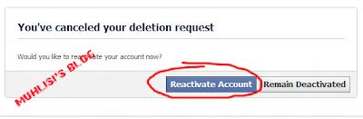 Pengaktifan kembali akun facebook