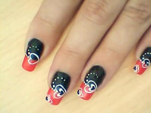 Manikir-obuka-tutorijal-3-(crveno-crni-nail-art-nokti)-007