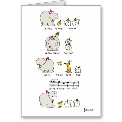 I Smiled You Hippo Birdie Two Ewe Funny Birthday Greeting Card
