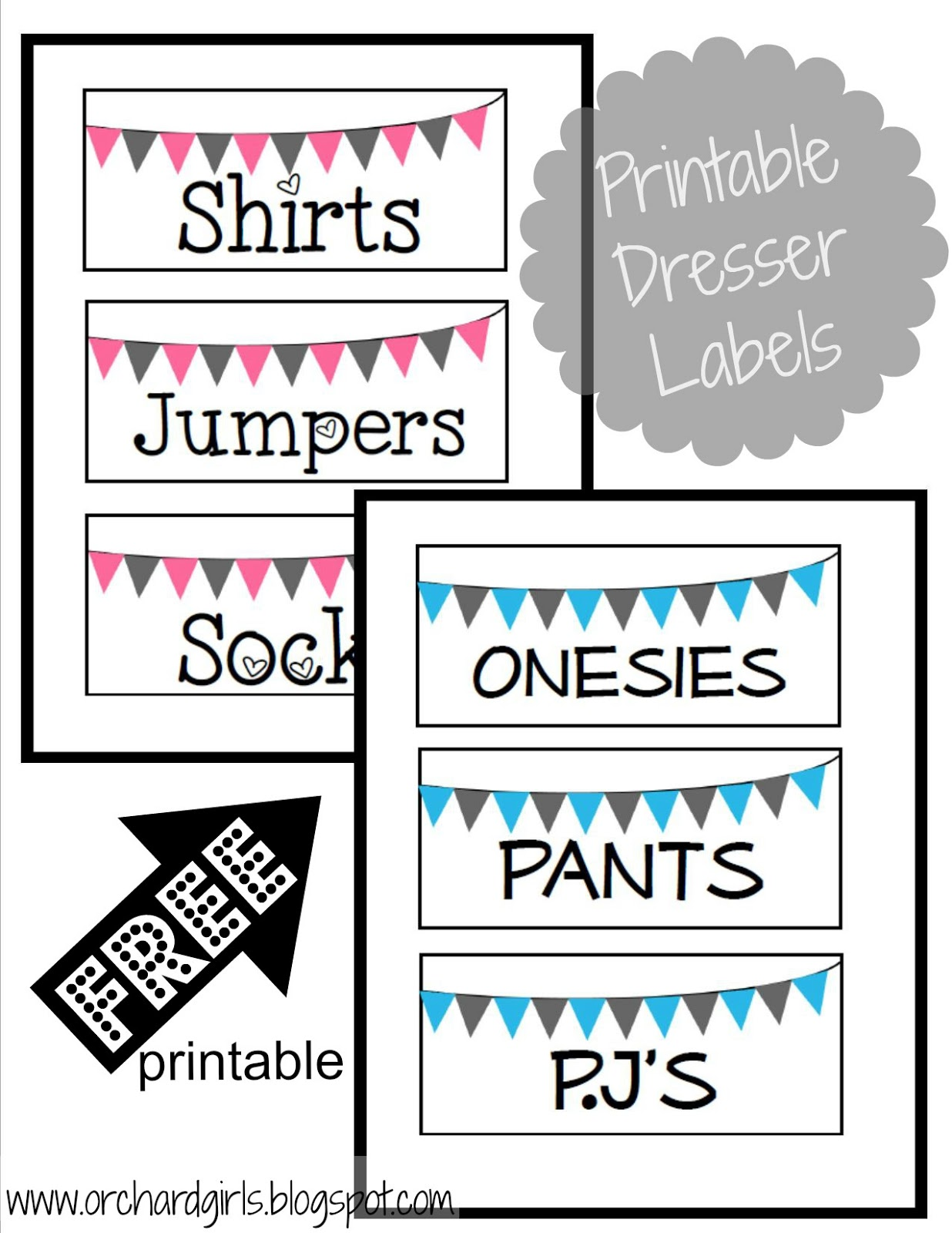 Orchard Girls Nursery Organization FREE Label Printables