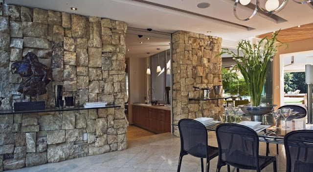 Photo of stone wall by the dinning room