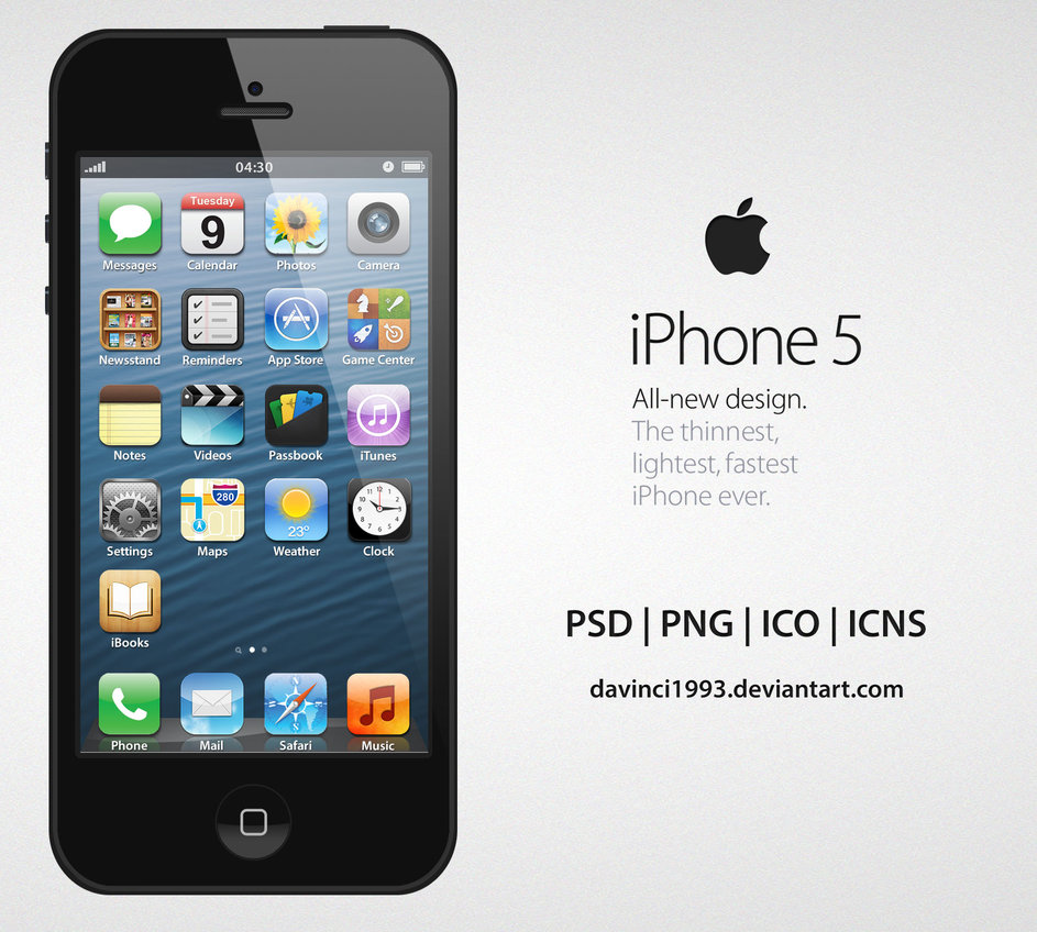 Apple iPhone 5 Design in PSD, PNG, ICO, ICNS