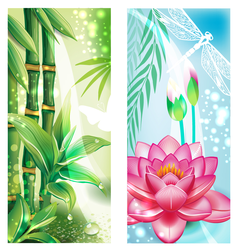 光あふれる竹と花ビラの背景 Beautiful flowers background イラスト素材