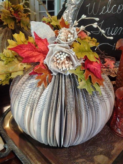 Paperbook Pumpkin Tutorial with burlap flowers