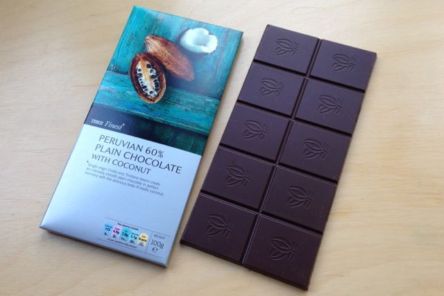 Tesco Finest Peruvian 60% Plain Chocolate with Coconut