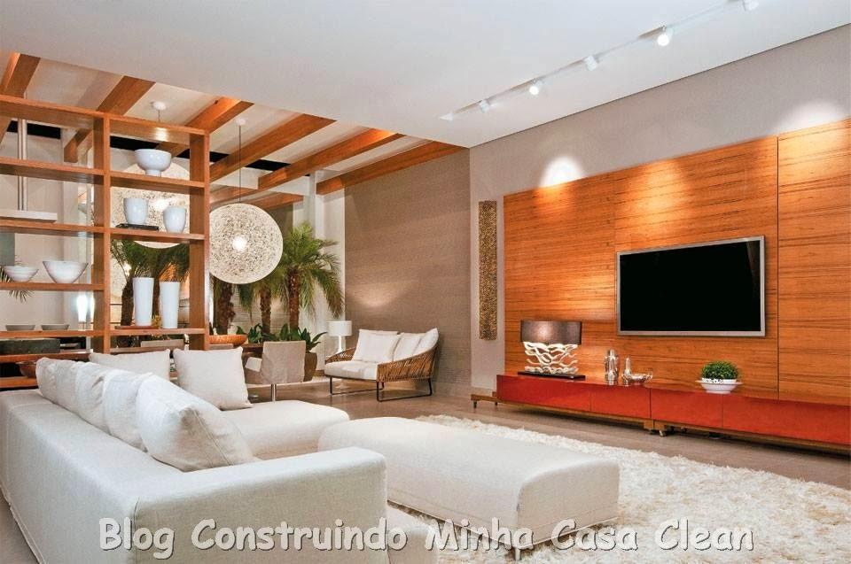 Home Theater Sala De Tv ~  Minha Casa Clean Home Theater! 20 Projetos de Salas de TV Modernas