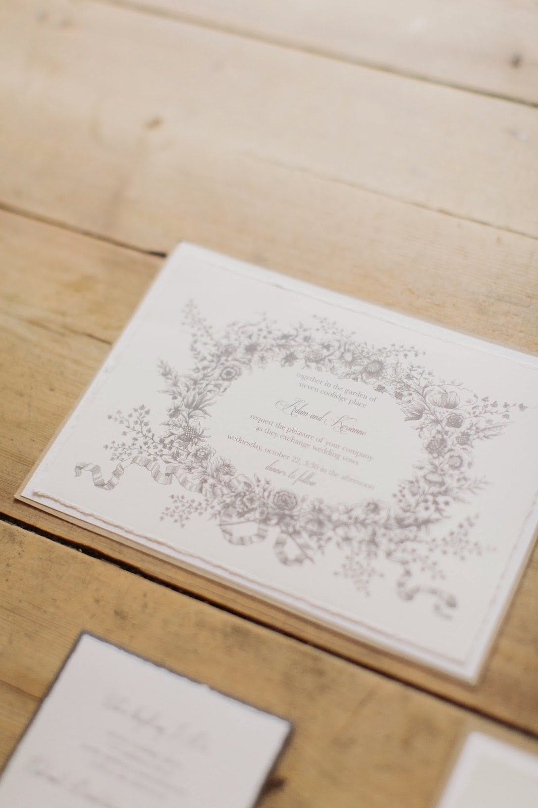 les fleurs : fall wedding invitations : hand torn edge, linen paper : flower wreath : burlap and jute twine
