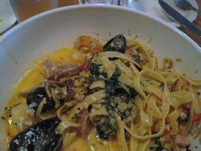 ... , saffron, chilies,pancetta, and cream then tossed with fettuccine