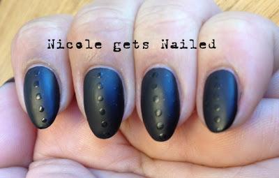 Black Matte Polka Dots Nail Art