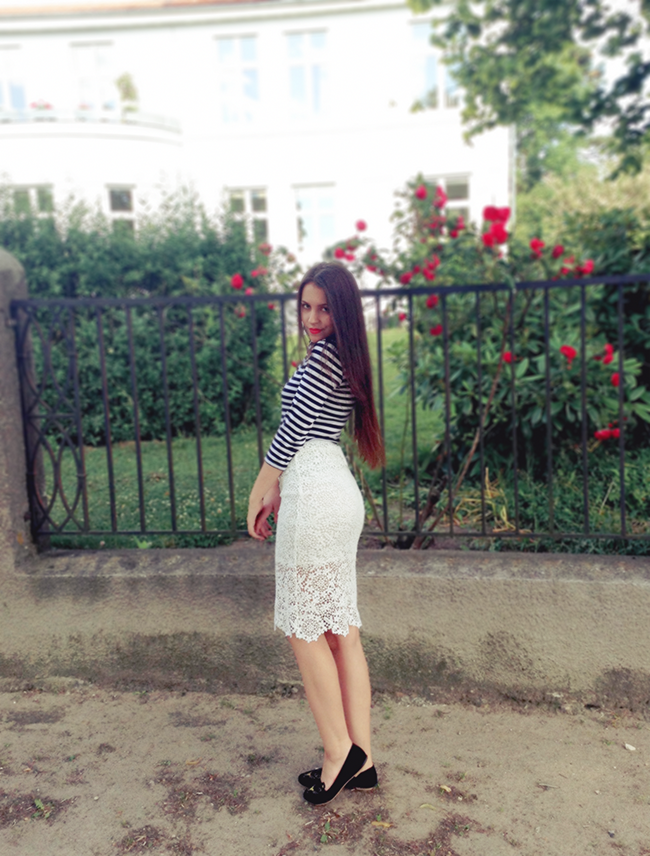 Black and white striped top, Lace midi skirt outfit fashion style blog