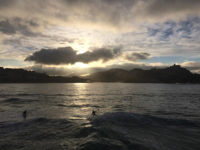 Sunset at La Concha beach, San Sebastian