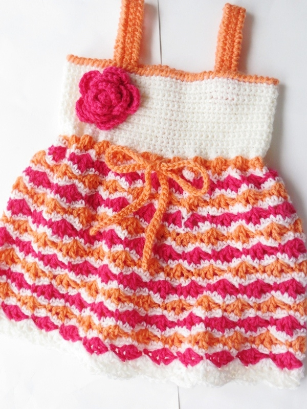 Olivia Dress, Crochet Pattern for Baby Dress, Newborn to 2 Years