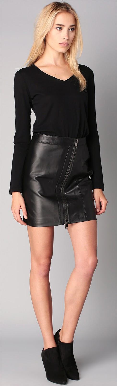 Jupe courte Oakwood en cuir noir