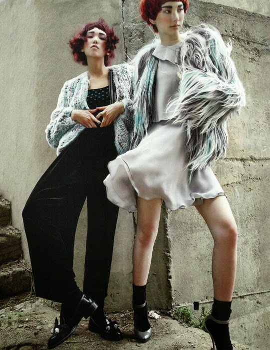 Emporio Armani 2014 AW Multi-color Fur Coat Editorials
