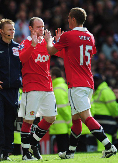 Rooney Vidic Man Utd vs Blackpool Barclays Premier League