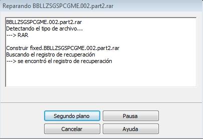 Creando Archivo Fixed.rar Reparar Archivos de Winrar
