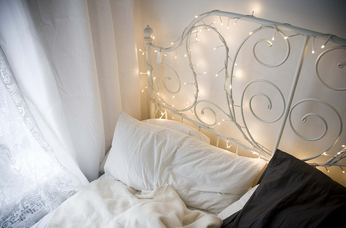 Here Is A Wonderful Way To Spruce Up Your Bed Frame Just Wrap Some Lights And In An Instant You Have Magical Room The Best Part Are Bright