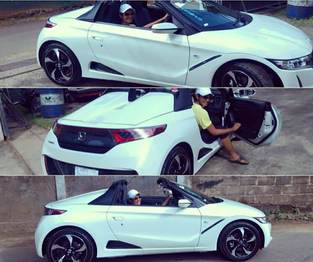 Yureni Noshika in her new Honda S660 driving it