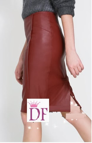 Earth Red Elegant PU Leather Pencil Skirt