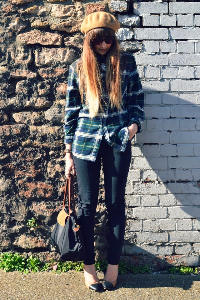yull beaulieu gap jeans asos sunglasses longchamp bag h&m plaid shirt