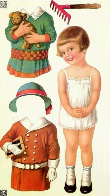 Бумажные винтажные куклы с одеждой