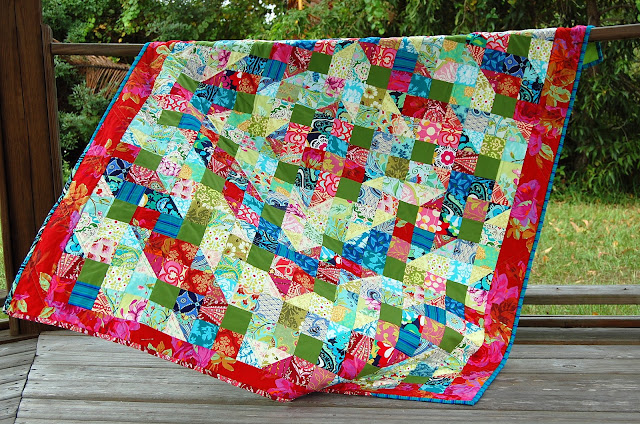 Because I'm Me vibrant quilt using a Kaffe Fasset pattern, Perkiomen Valley.