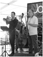 Chad McCullough - Trumpet and Geof Bradfield - Tenor Saxophone - Spin Quartet - 2015 Chicago Jazz Festival   Photograph by Tom Bowser
