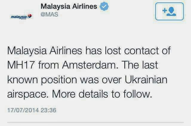Kenyataan Malaysia Airlines Mengenai Pesawat MAS MH17 di laman Twitter