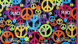 peace sign fabric for a hippy quilt