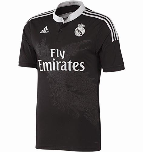 camiseta tercera equipación real Madrid 2014-2015 negra dragones comprar