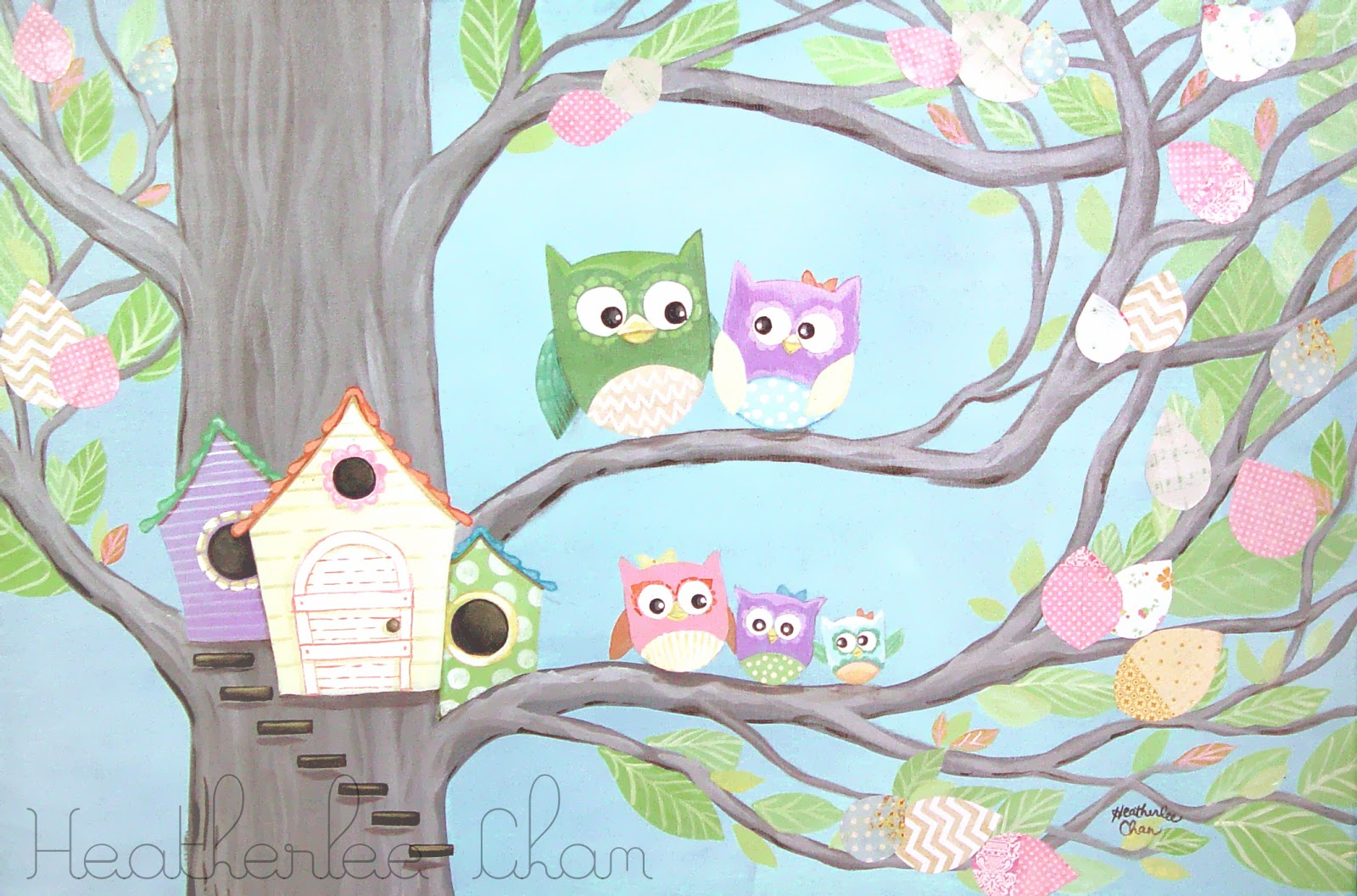 Lady Poppins Owl Family And Their House Painting For A