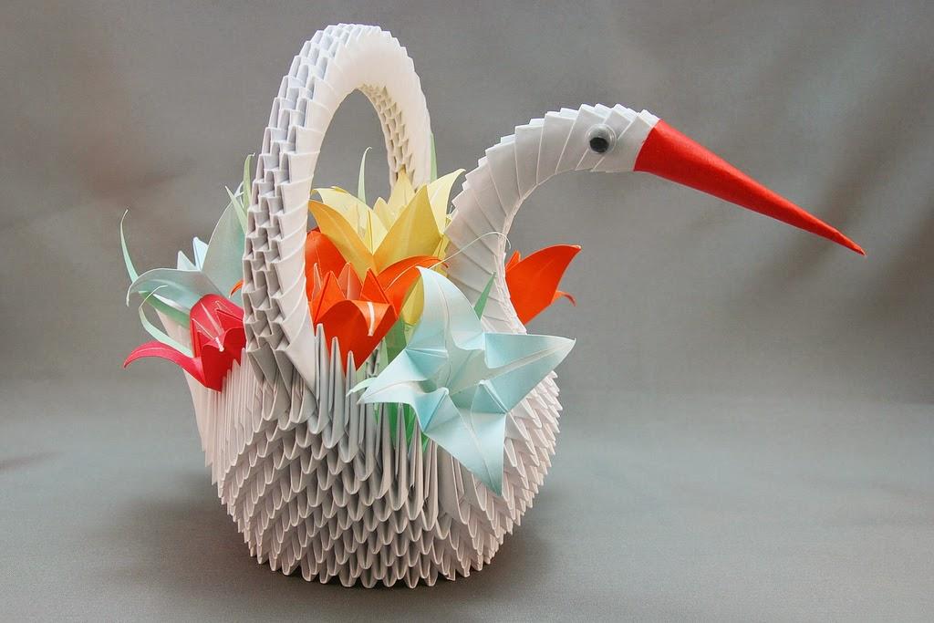 origami swan 3d