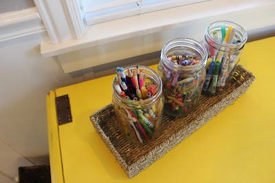Kid art supply storage - mason jars