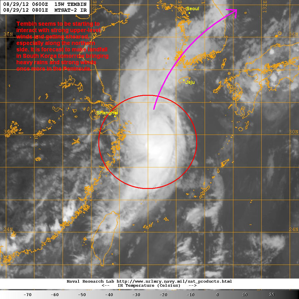 latest satellite image shows the core of tembin remains intact despite the increasing upper level winds the system is starting to get sheared however