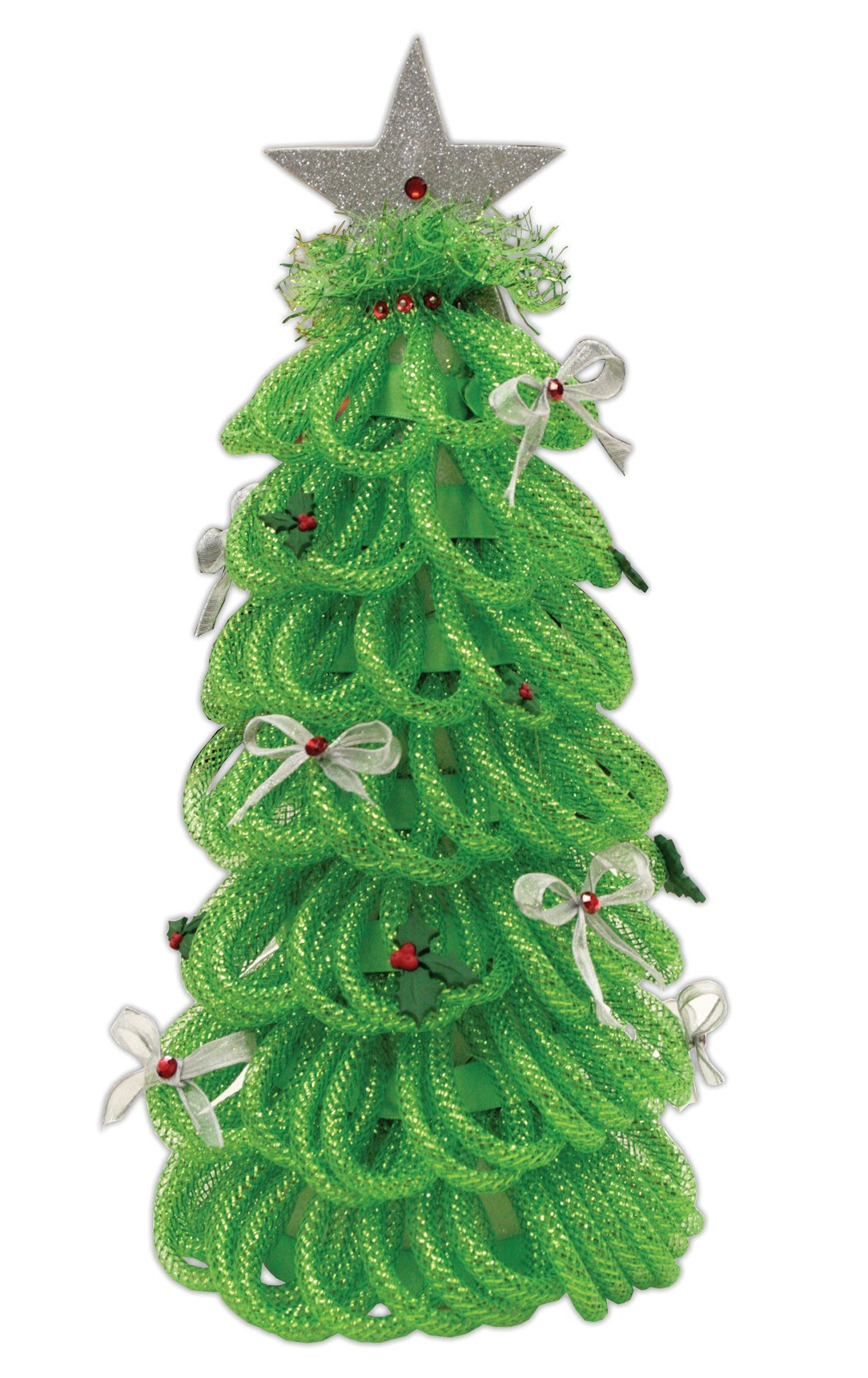 How To Decorate Christmas Tree With Poly Mesh Ribbon : Crafts direct geo deco mesh trees