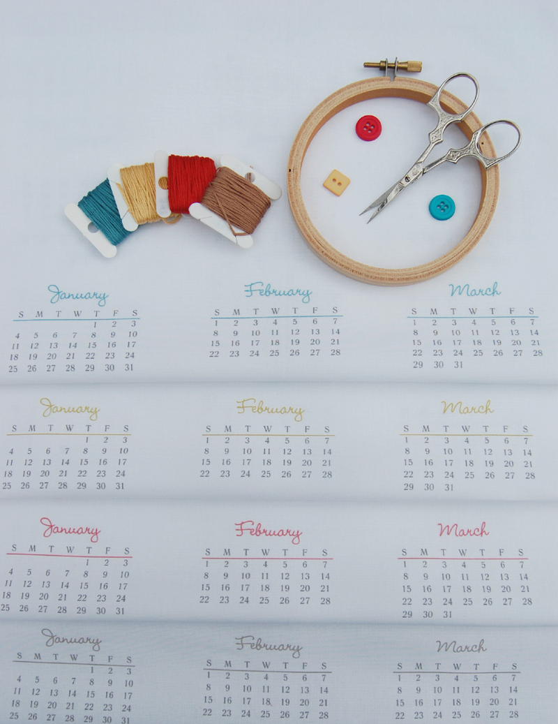 2015 calendar DIY fabric panel tea towel for embroidery