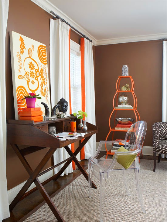 Giving classic pieces a boost of modern color is another smart way to fuse  yesterday and today, as the simple white drapes trimmed in orange and the  tagre ...