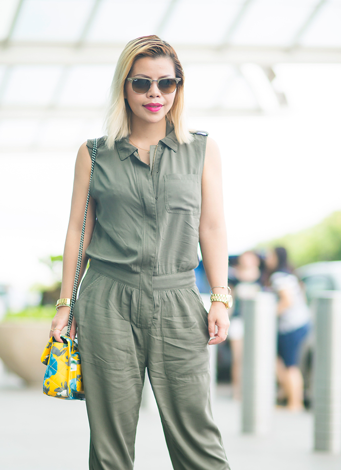Singapore Fashion Blogger Crystal Phuong travels in style, army green jumpsuit from Forever21 and Valentino rockstud heels
