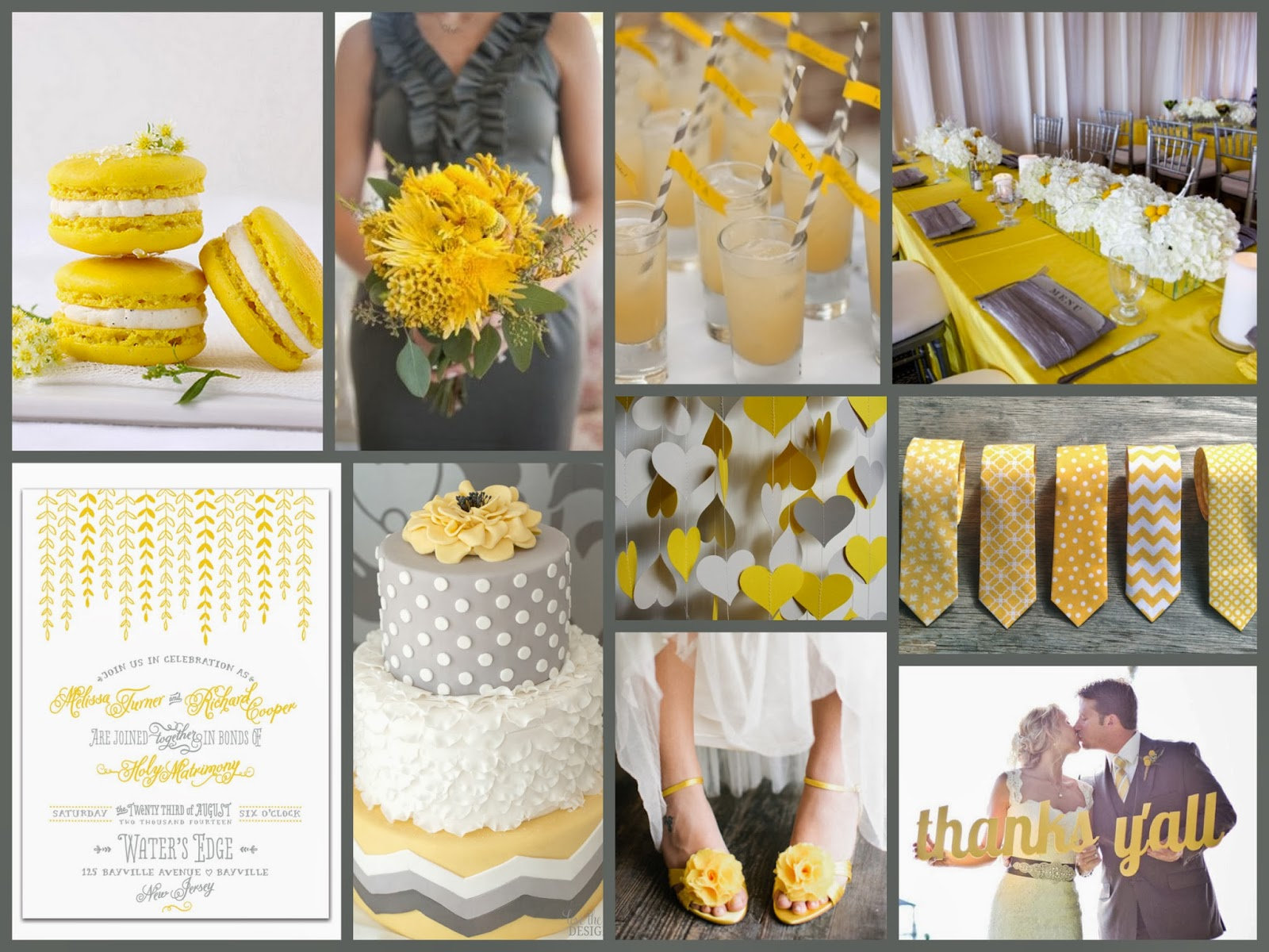 Yellow & Gray Wedding Inspiration - Pantone's Spring Wedding 2014 Colors  Freesia & Paloma - Designed by M.E. Stationery Blog