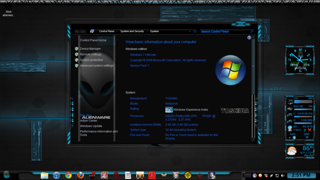 blue alienware skin pack for windows 7 free