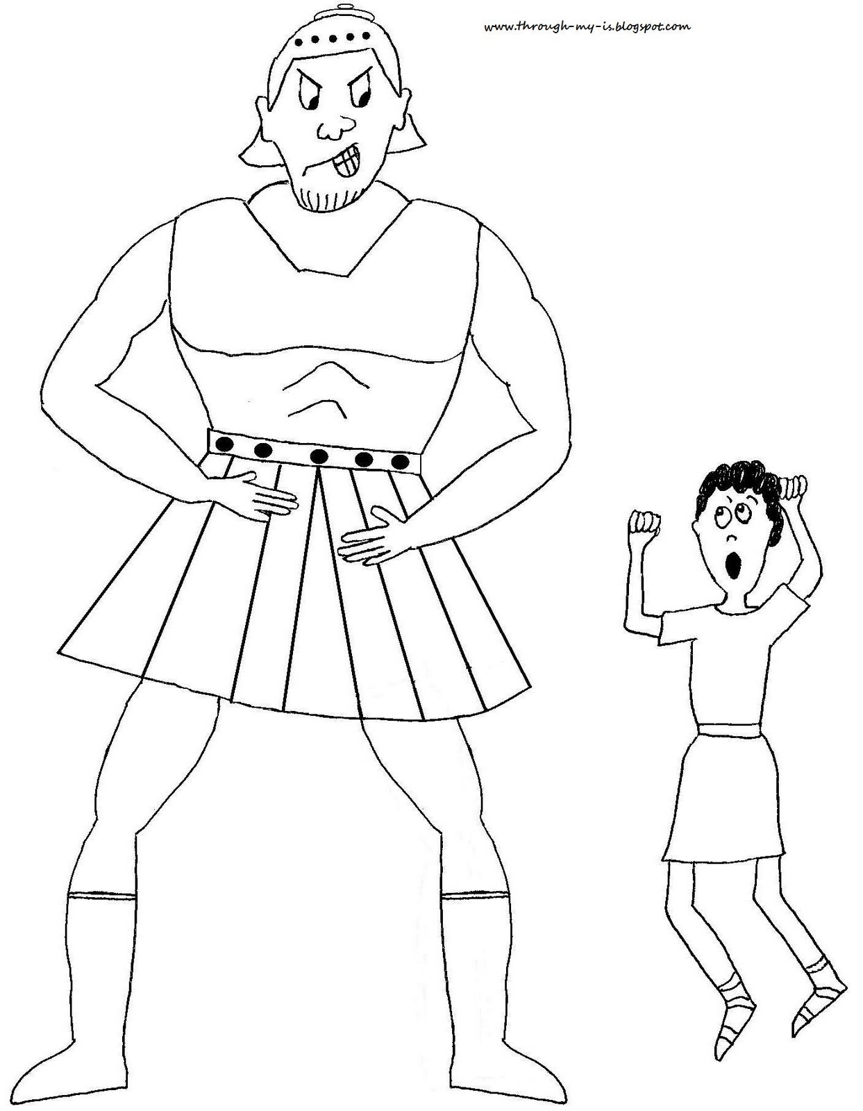 Free coloring page david and goliath - David And Goliath Craft Free Printable