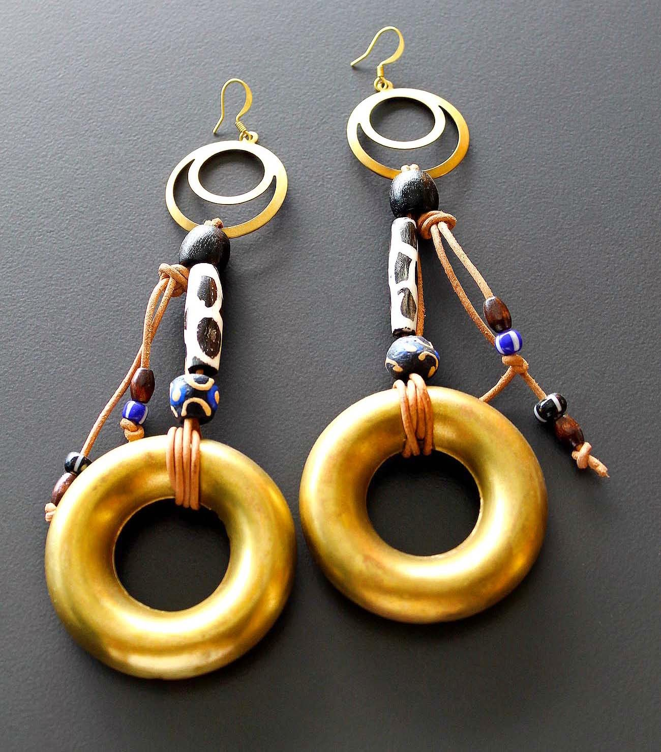 african brass hoop earrings