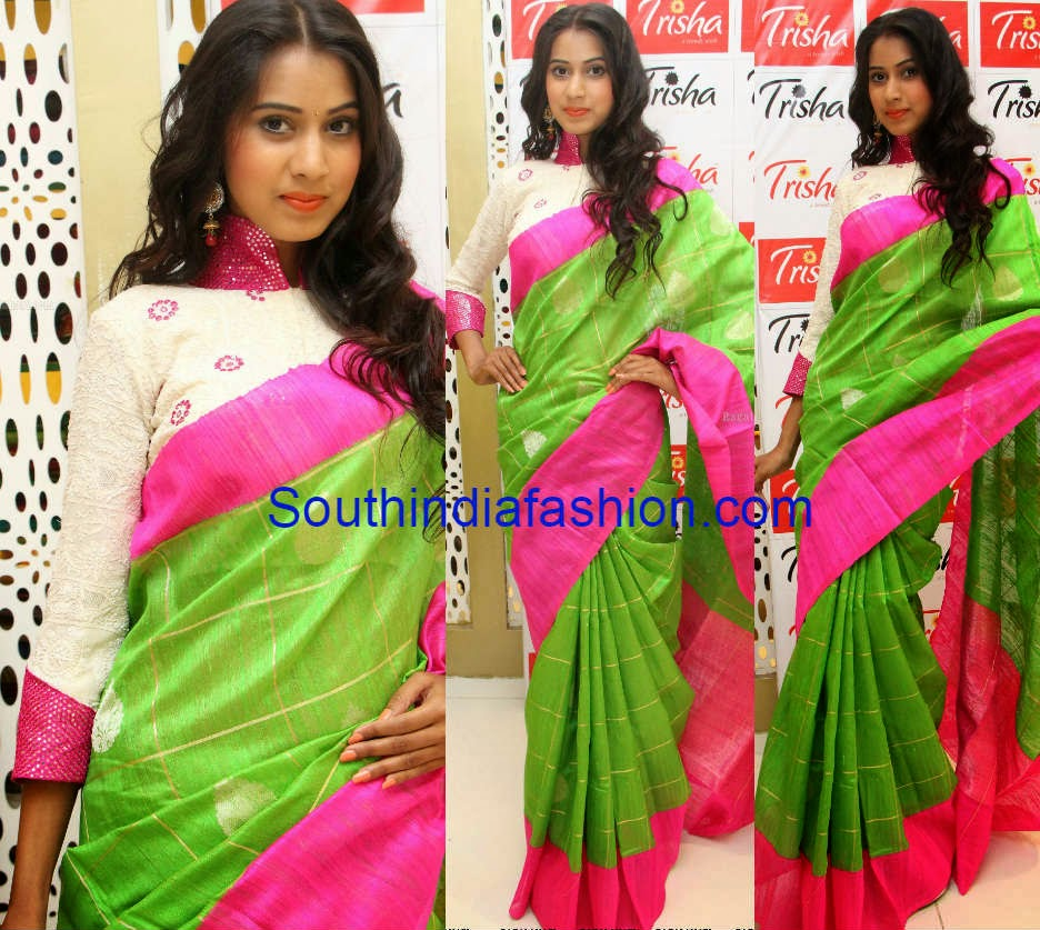 green and pink silk saree